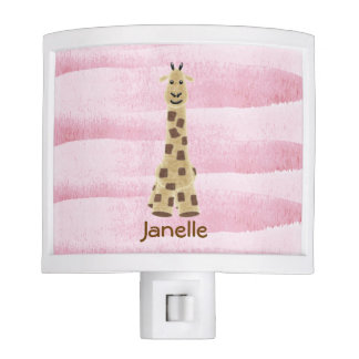 Cute Giraffe Nursery Night Light with pink