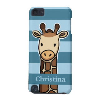 Cute Giraffe, Personalized Name, Blue Stripes iPod Touch 5G Cover