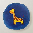 "Cute Giraffe Polyester Round Throw Pillow (16"")"