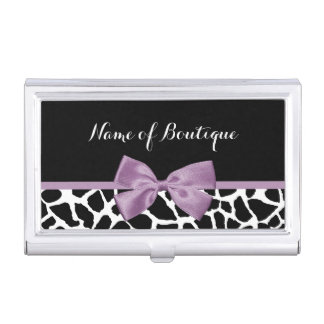 Cute Giraffe Print Lavender Purple Bow Boutique Case For Business Cards