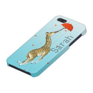 Cute Giraffe Whimsical Red Umbrella iPhone 5 Case
