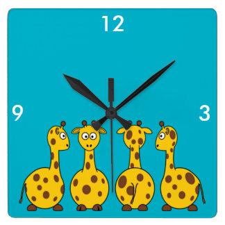 Cute Giraffe, Wild Animal Square Wall Clock