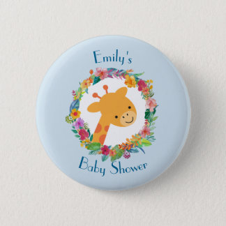 Cute Giraffe with a Floral Wreath Baby Shower 2 Inch Round Button