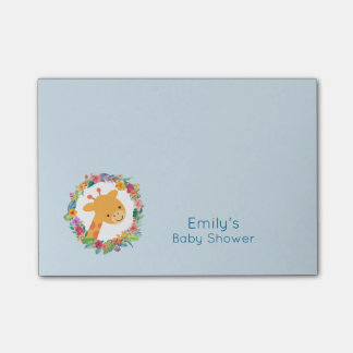 Cute Giraffe with a Floral Wreath Baby Shower Post-it Notes
