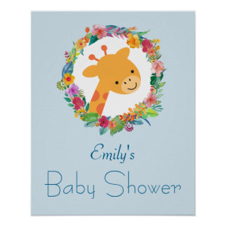 Cute Giraffe with a Floral Wreath Baby Shower Poster