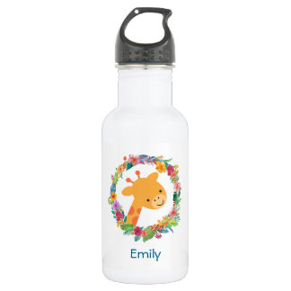Cute Giraffe with a Floral Wreath Personalized 532 Ml Water Bottle