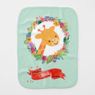 Cute Giraffe with a Floral Wreath Personalized Baby Burp Cloth