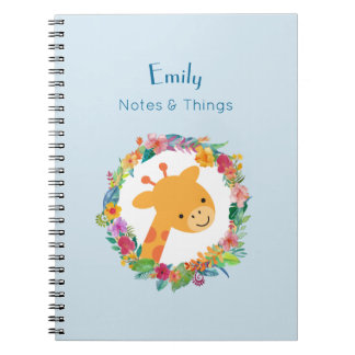 Cute Giraffe with a Floral Wreath Personalized Notebooks
