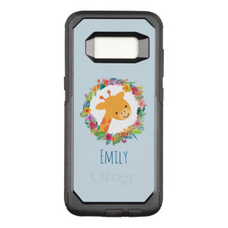 Cute Giraffe with a Floral Wreath Personalized OtterBox Commuter Samsung Galaxy S8 Case