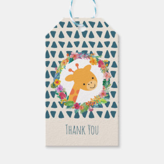 Cute Giraffe with a Floral WreathThank You Gift Tags