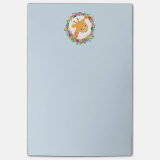 Cute Giraffe with a Watercolor Floral Wreath Post-it Notes