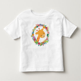 Cute Giraffe with a Watercolor Floral Wreath Toddler T-shirt