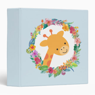 Cute Giraffe with a Watercolor Floral Wreath Vinyl Binder