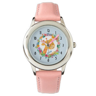 Cute Giraffe with a Watercolor Floral Wreath Watch
