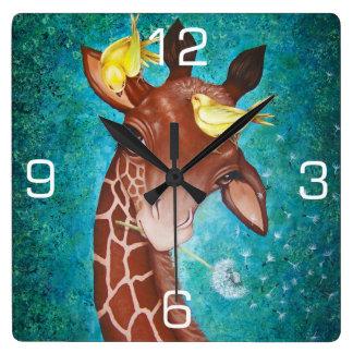 Cute Giraffe with Birds Clock