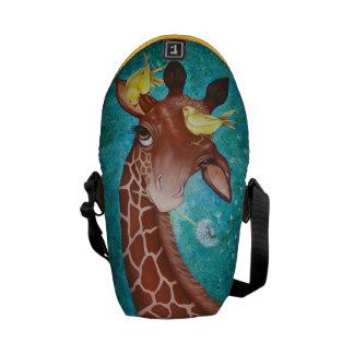 Cute Giraffe with Birds Courier Bag