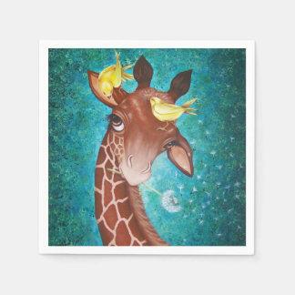 Cute Giraffe with Birds Disposable Napkins