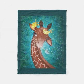 Cute Giraffe with Birds Fleece Blanket