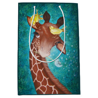 Cute Giraffe with Birds Medium Gift Bag