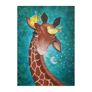 Cute Giraffe with Birds Painting Acrylic Wall Art