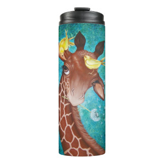 Cute Giraffe with Birds Painting Thermal Tumbler