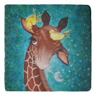 Cute Giraffe with Birds Trivet