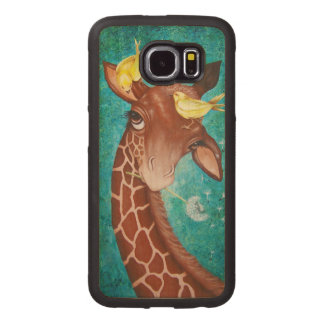 Cute Giraffe with Birds Wood Phone Case
