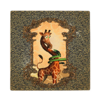 Cute giraffe with dragon maple wood coaster