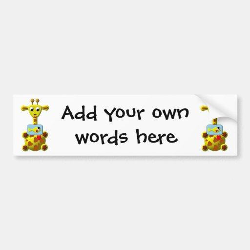 Cute Giraffe with Goldfish Bumper Stickers