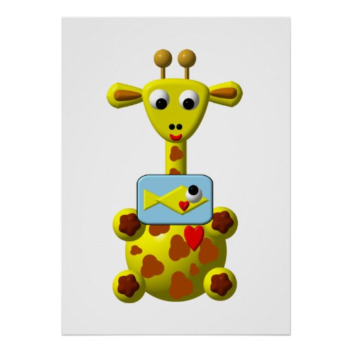 Cute Giraffe with Goldfish Poster