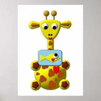 Cute Giraffe with Goldfish Print