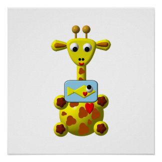 Cute Giraffe with Goldfish Posters