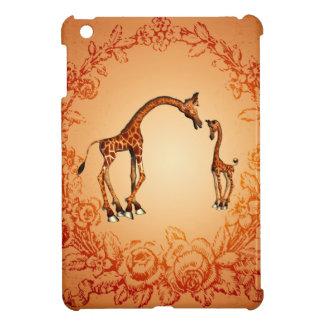 Cute giraffe with their child iPad mini cover