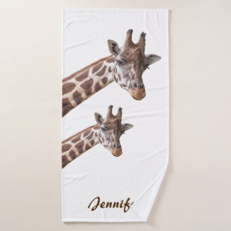 Cute Giraffes Personalized Name Bath Towel Set