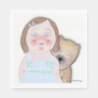 Cute girl and bear paper napkin. disposable napkins