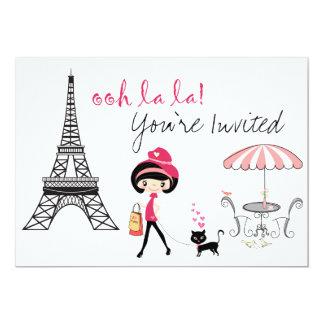 Cute Girl and Black Cat Paris Birthday Invitation