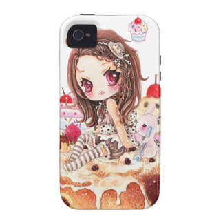 Cute girl and bunny sitting on kawaii cakes vibe iPhone 4 cover