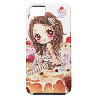 Cute girl and bunny sitting on kawaii cakes iPhone 5 case