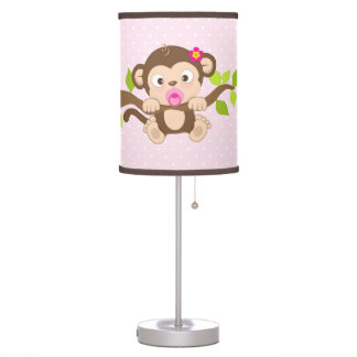 Cute Girl Baby Monkey Pink Polka Dots Table Lamp