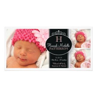 Cute Girl Baby Photo Monogram  Birth Announcement Card