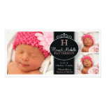 Cute Girl Baby Photo Monogram  Birth Announcement Custom Photo Card