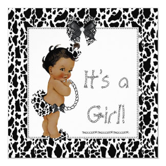 """Cute Girl Baby Shower Cow Print Ethnic 5.25"""" Square Invitation Card"""
