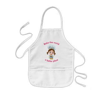 Cute girl-baker    Bake the world a better place Kids Apron