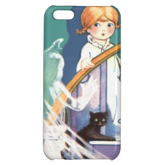 Cute Girl Black Cat Ghost Ghoul Cover For iPhone 5C
