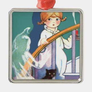 Cute Girl Black Cat Ghost Ghoul Silver-Colored Square Ornament