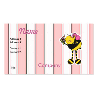 Cute Girl Bumble Bee Business Card Templates