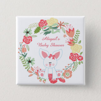 Cute Girl Bunny and Flower Wreath Baby Shower 2 Inch Square Button