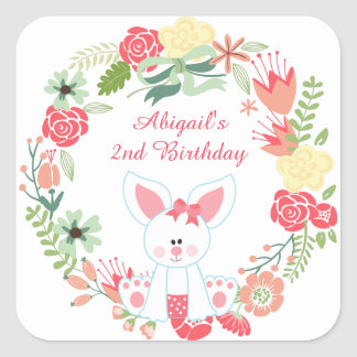 Cute Girl Bunny and Pretty Flower Wreath Birthday Square Sticker