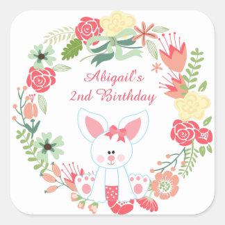 Cute Girl Bunny and Pretty Flower Wreath Birthday Square Sticker