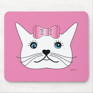 Cute-Girl-Cat-with-Pink-Bow Mouse Pad
